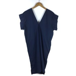 Esby Dresses - Esby Apparel Navy Deep V Cocoon Shift Dress